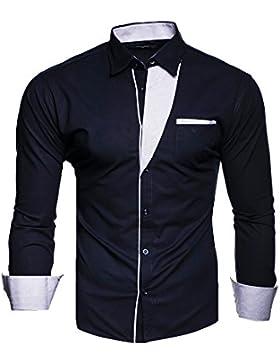 Kayhan Camicie Uomo Slim Fit Maniche Lunghe di ferro se necesario -Modello Krawattenhemd