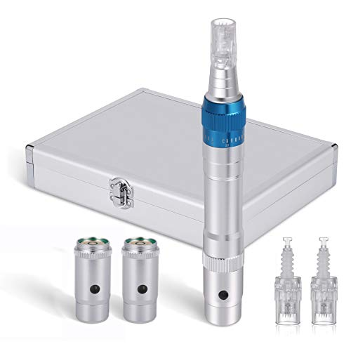 Elektrischer Derma Pen Dermaroller kabellos wiederaufladbar (3 Austauschbare Batterien) verstellbar von 0,25mm-2,0mm inkl. 2 Stück mit Mikro Nadelpatrone (blue) - Derma E-körperpeeling