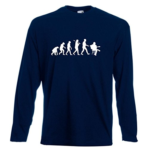 Evolution of the Acoustic Guitarist Long-Sleeved Navy T-Shirt with White Print