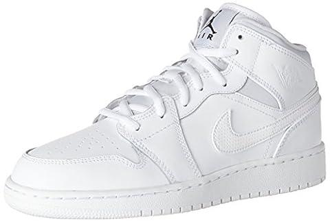 Nike Kinder und Jugendliche Air Jordan 1 Mid Bg Basketballschuhe, Weiß (White/Black/White), 36 EU (Nike Jordan 1 Mid)