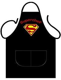 """Delantal para cocinar de color negro con diseño muy original, para hombre, ideal para barbacoas, impresión frontal que pone: """"superchef"""", de Iconic Aprons"""