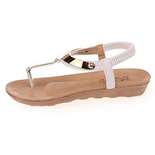 Zolimx Frauen Mädchen Böhmen Pailletten Sandalen Klippzehe Herringbone Beach Flat Schuhe (37, Weiß) (Ferse Pailletten Mule)