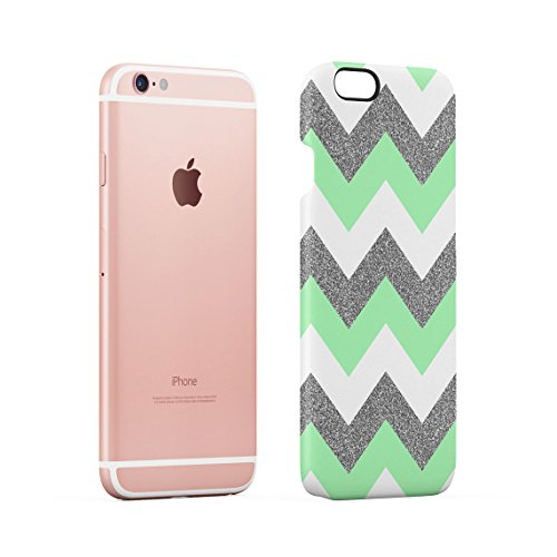 Coral Pink Chevron Glitter Pattern Tumblr Custodia Posteriore Sottile In Plastica Rigida Cover Per iPhone 6 Plus & iPhone 6s Plus Slim Fit Hard Case Cover Green Chevron