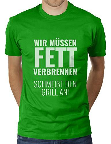 Wir müssen Fett Verbrennen, schmeißt den Grill an! - Herren T-Shirt von KaterLikoli, Gr. 3XL, Apple Green