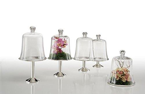 Sweet Home Assiette ronde Provence avec cloche en verre argenté sheffield - art. 5021610G - Lon. 21 cm - Lar. 21 cm - Hau. 26 cm - Ø21 cm by Varotto & Co.