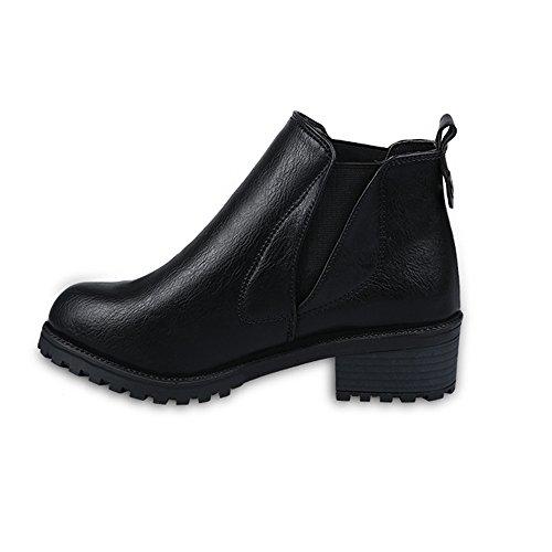 Beladla Mujer Botas Plataforma Muslo Zapatos De Cuero Plataforma Impermeable AdemáS De Terciopelo Botas De Mujer Cabeza Redonda Botas Navidad