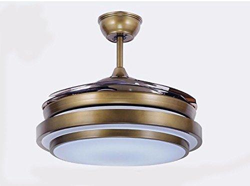 CTREKE Deckenventilator Licht LED Schlafzimmer Wohnzimmer Kind Deckenventilator Wohnkultur dimmbar Mode einfach Durchmesser 90cm dimmbar Fernbedienung Bronze -
