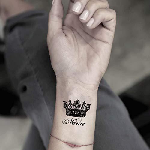 Kundenspezifischer Name mit Krone temporäre gefälschte Tätowierung Aufkleber abwaschbares Tattoo (Set von 2) - ()