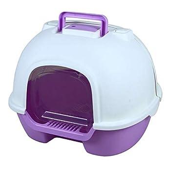 Flowing water Boîtes à litière entièrement fermées pour Chat, Toilette pour Chat Déodorant réutilisable Respirant Anti-éclaboussures Grande Toilette pour Animaux de Compagnie,Violet