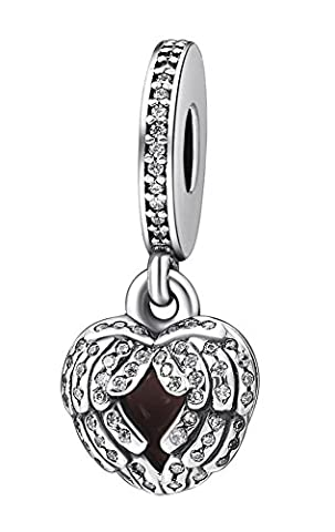SaySure - 925 Sterling Silver Charms Angel Wings Clear CZ Pendant