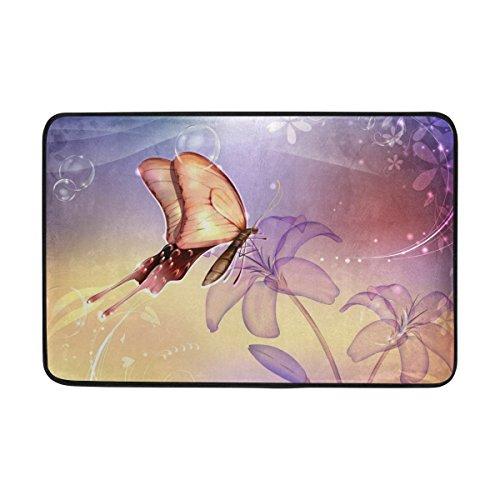 JSTEL Butterfly-Wallpaper-Fußmatte waschbar Garten Büro Fußmatte, Küche ESS-Living Badezimmer Pet Eintrag Teppiche mit Rutschfeste Unterseite