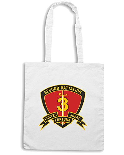 T-Shirtshock - Borsa Shopping TM0318 2nd Battalion 3rd Marine Regiment USMC usa Bianco