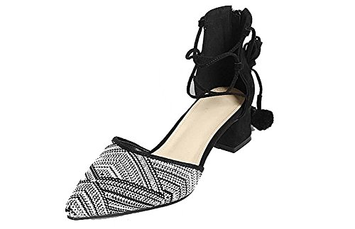 NobS Pelle di punta in pelle semplice 5cm Chunky Heel Hollow Hollow Strap Sandali Peluche Pattini Casual Scarpe black and white