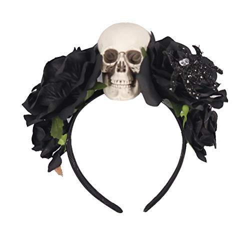 Sie Kostüm Toten Ihre Bringen - Amosfun Day of The Dead Stirnband Künstliche Blume Haarband Rose Totenkopf Kopfschmuck für Halloween Party Gr. M, Schwarz