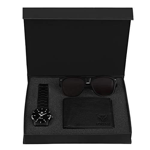 Lorenz Combo of Black Watch, Wallet and Wayfarer Sunglasses for Men- CM-1062SN-WL-BLK