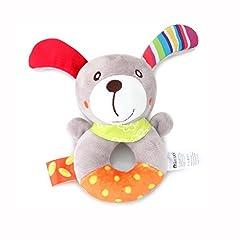 Idea Regalo - Baby Ring sonaglio Toy Baby Waggles peluche farcito animale cucciolo cane morbido sonaglio