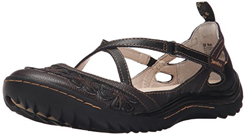 Jambu Blossom Encore Damen Rund Leder Mary Janes Black Earth