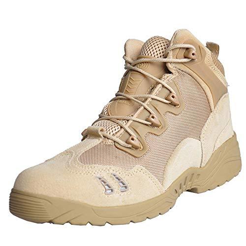 HSAWVE SHOES Stivali da Combattimento degli Uomini di Primavera e d'Autunno Basso Stivali dell'Esercito di Guida Scarpe da Trekking all'aperto Stivali Tattici desertici-Beige-EU44/270mm/UK9.5