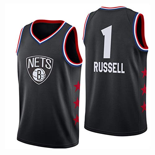 Herren-Basketballtrikot - NBA Brooklyn Nets, New Fabric Embroidered Swingman Jersey Sleeveless Shirt Black(C)-XL ()