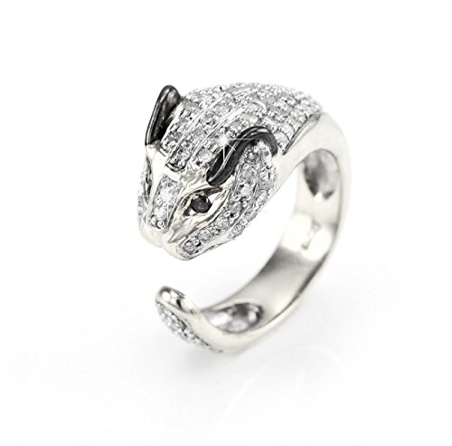 Diamond Studded Silver Leopard Ring with Black Diamond Eyes