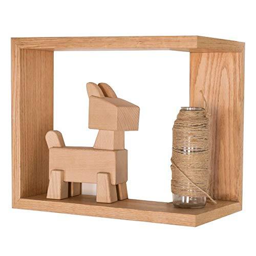 LQ-Wall shelf Wandregal, Europäisches Eckregal Aus Massivem Holz, Geeignet Für Moderne Minimalistische Wohnzimmer Ecke Ecke Kreative Wandlagerregal (Color : Wood Color, Size : 36x20x30CM) -