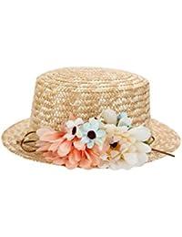Sombrero Canotier de Vestir con Cinta y Flores - Ideal para Bodas, Fiestas y Celebraciones, Mujer, Mujeres Originales, con flores. Baratos Canotier Paja (Precio Unitario) Tocados, invitada perfecta