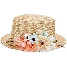 7e07e0fa6d05a Sombrero Canotier de Vestir con Cinta y Flores (Se envia Aleatorio) - Ideal  para