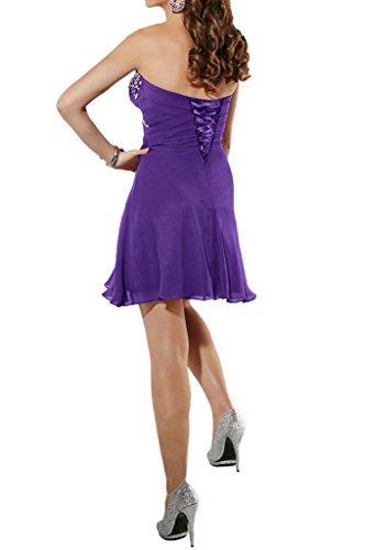 Ivydressing Damen Herzform A-Linie Kurz Chiffon Cocktailkleid Festkleid Abendkleid Violett