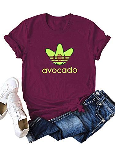 Festnight Damen Sommer Kurzarm T-Shirt, Damen Avocado T-Shirts mit Buchstaben-Print Kurzarm Rundhalsausschnitt Baumwolle Sommer Plus Size T-Shirts (Kleid Plus-t-shirt)