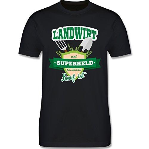 Shirtracer Landwirt - Landwirt - Weil Superheld Kein Offizieller Beruf ist - Herren T-Shirt Rundhals Schwarz