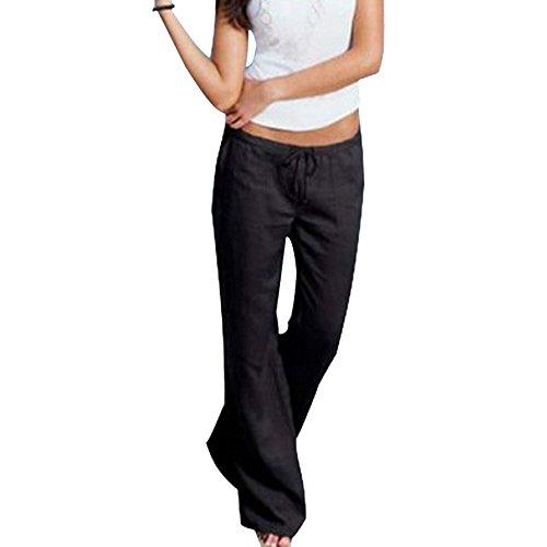 Aelegant Damen Frühling Sommer Einfarbig Lang Leinen Hose Weites Bein Hohe Taille Yogahose Loose Palazzo Hosen Casual Pants