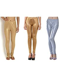 ROOLIUMS ® (Brand Factory Outlet) Women's Supersoft Lycra Shimmer Leggings - Dark And Light Golden, Silver (Pack...