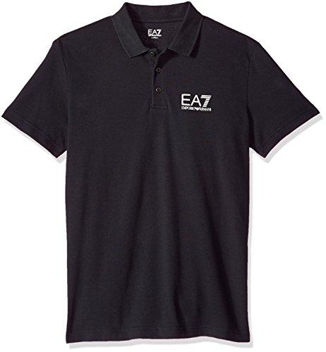 EA7 Emporio Armani Active Herren Train Core Piquet Polo Poloshirt, schwarz, X-Groß