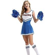 Jumojufol Vestido De Línea A De Deporte Elegante Disfraz De Animadora De  Estudiante para Mujer d5d5647ca7dbb