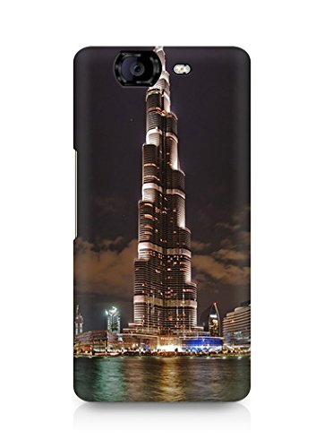 Amez designer printed 3d premium high quality back case cover for Micromax Canvas Knight A350 (Burj Khalifa Tower At Night)  available at amazon for Rs.99