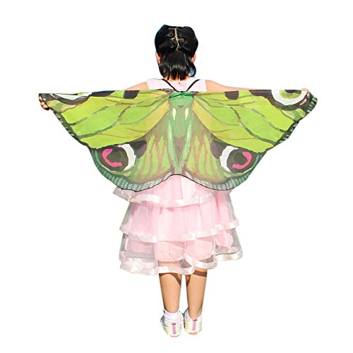 SEWORLD Schmetterling kostüm, Kind Kinder Jungen Mädchen Böhmisch Gewebe Schmetterlingsflügel Schal Fee Damen Nymph Pixie Kostüm Zubehör für Show/Daily/Party(A-Grün,118 * 48CM) (Fee Kostüm Für Jungen)