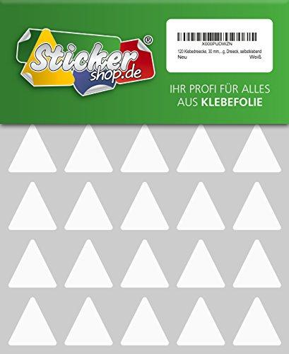 120 Aufkleber, Dreieck, Sticker, 30 mm, weiß, PVC, Folie, Vinyl, glänzend, Klebemarkierung, selbstklebend