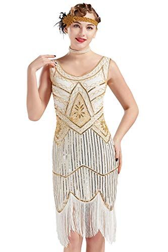 Great 1920's Kostüm Gatsby - ArtiDeco Damen Pailletten 1920s Kleid Flapper Charleston Kleid V Ausschnitt Great Gatsby Motto Party Damen Fasching Kostüm Kleid (Gold Weiß, S (Fits 84 cm Bust, Length 92 cm))