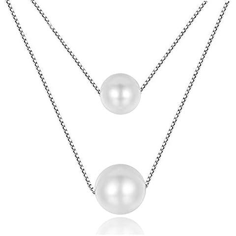 2017doppelt weiß Chic Shell 925Sterling Silber Double Layer stapelbar Halskette (Halskette Weiß Shell Halskette)