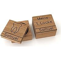 Zahndose und Lockendose für mit Namen aus Holz mit Gravur Milchzahndose Zahnbox Lockenbox meine erste Locke first curl tooth Zahnfee Box Holzdose Geschenk Einschulung zur Geburt Milchzähne Taufgeschenk personalisiert Baby Jungen Mädchen, Eiche