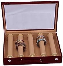 Kuber Industries 5 Rods Rectangular Velvet Wooden Bangle Box Set, Maroon