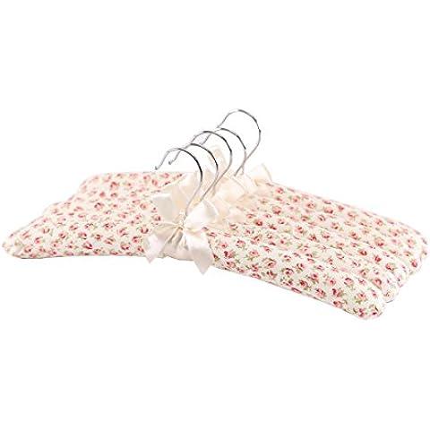 Neoviva - Perchas acolchadas, 5 unidades, diseño de flores, color rosa