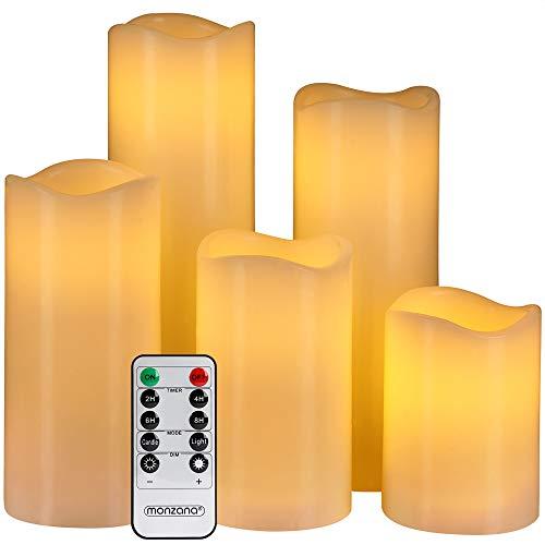 Monzana 5 LED Echtwachs Kerzen mit Fernbedienung & Timerfunktion Flamme flackernd 5 unterschiedliche Größen Ø7,5cm breit groß