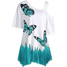 ❤️Tefamore Femmes papillon impression Off épaule chemise à manches courtes Casual Top Blouse