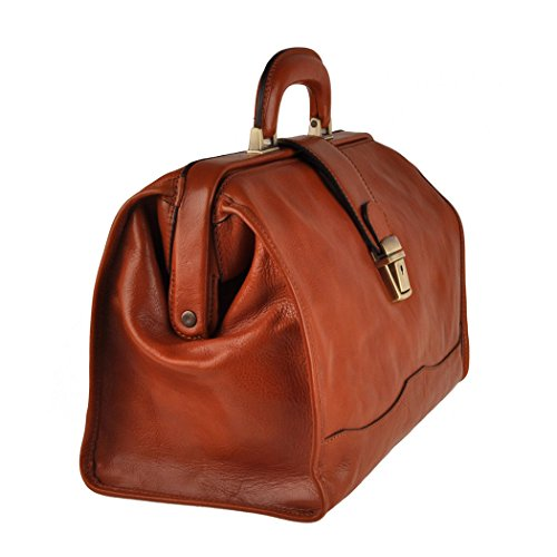 Pellevera Torino sac de médecin de poche en cuir italien (marron) tan brun