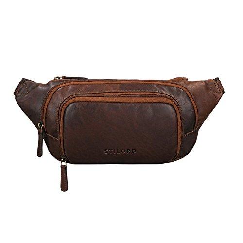STILORD 'Luke' Riñonera de piel hombres vintage bolso de cadera unisex mujeres para fiesta festival deporte viaje de cuero auténtico de búfalo, Color:cognac marrón oscuro