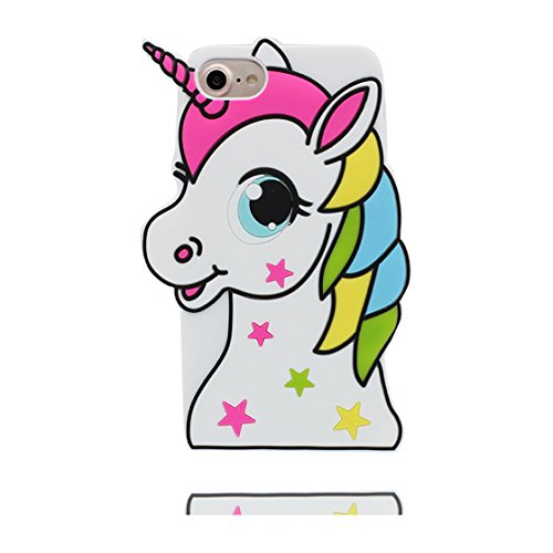 iPhone 7 Plus Custodia, Scratch Shockproof TPU Nuovo design durevole Prezzo basso in case 3D Copertura Unicorno per iPhone 7 Plus ( Nero ) [ iPhone 7 Plus 5.5 ] bianca