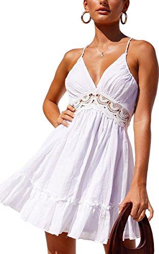 Cassiecy Damen Sommerkleid LoseV-Ausschnitt Spitzenkleid Ärmellos Träger Rückenfreies Kleider Elegant Strandkleider Minikleid(Weiß,M (Spitzenkleid Rückenfreies)