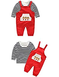 Alif Laila Unisex Combed Cotton Dungree Style Romper with Printed T-Shirt with Front Pocket for baby girls/baby boys, 2 Piece Clothing Set (Color_Red) (size-80, Age - 10 to 12 Months)