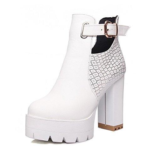 AllhqFashion Damen Ziehen auf Knöchel Hohe PU Rund Zehe Hoher Absatz Stiefel, Weiß, 41
